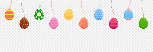 Trajeto de recorte de ovos de páscoa de suspensão. formato de banner