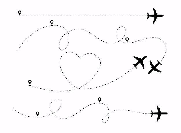 Trajetória de aviões com ilustração de pinos de localização