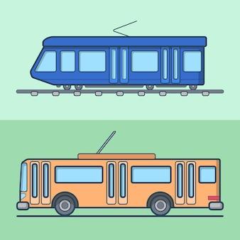 Tram trólebus trólebus conjunto de transporte público. ícones de contorno de traço linear.