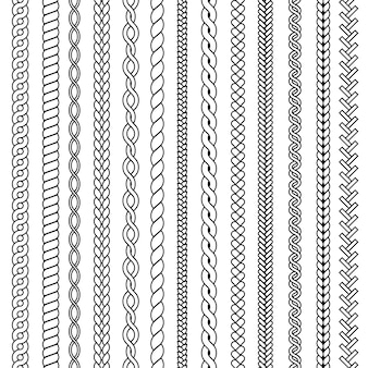 Tranças e tranças. ondas de malha desenho coleção sem costura ornamental. trança e linha estampada, trança de barbante