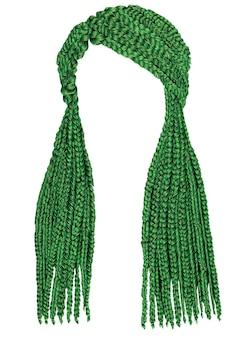 Trancinhas de cabelo comprido da moda de cor verde. moda.
