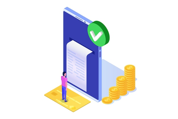 Transação aprovada, transações financeiras, pagamento não em dinheiro, moeda monetária, conceito isométrico de nfc de pagamento.