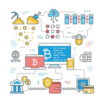Transação de blockchain e internet cryptocurrency. bitcoin, mercado de ações e financiar o conceito de vetor de suporte