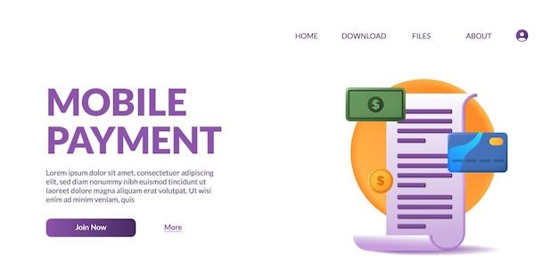 Transação de fatura de pagamento móvel com papel, cartão, dinheiro conceito de ilustração de ícone fofo 3d