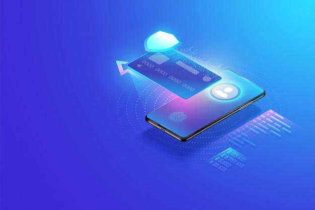 Transação de pagamento online segura com smartphone. internet banking via cartão de crédito no celular. proteção de compras sem fio paga através de conceito isométrico de smartphone.