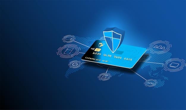 Transação de segurança de pagamento online via cartão de crédito.