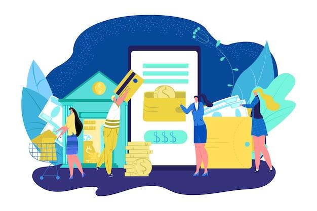 Transação digital por banco móvel ilustração vetorial transferência de dinheiro on-line pagamento de internet em ...