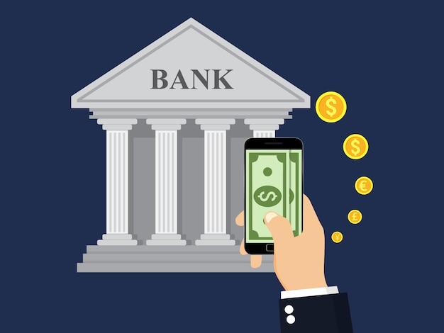 Transação em dinheiro, negócios, banco móvel e pagamento móvel.