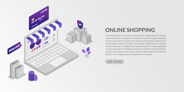 Transação isométrica de pagamentos on-line de compras e segurança on-line