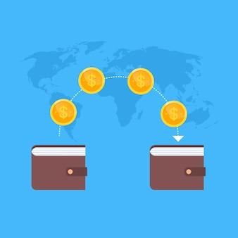 Transação móvel do dinheiro de digitas do mapa do mundo da carteira e conceito do comércio eletrônico