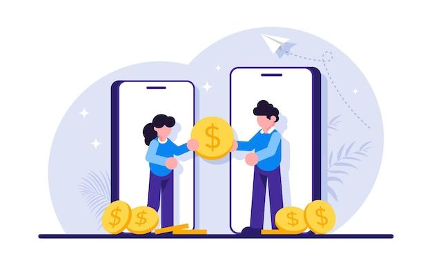 Transação ou doação de serviço de transferência de dinheiro de pagamento móvel seguro pessoas em smartphones passam uma moeda gigante