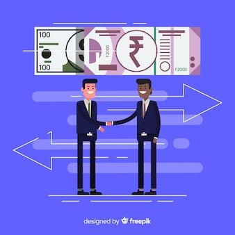 Transação rupia indiana
