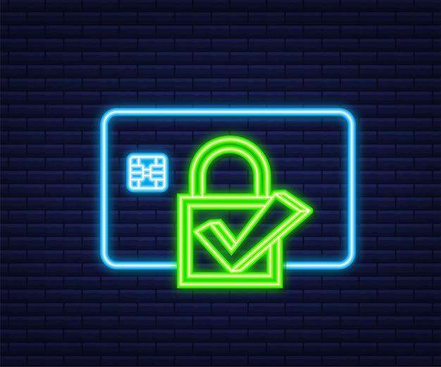 Transação segura com cartão de crédito. conceitos de proteção de pagamento, pagamento seguro. estilo neon. ilustração vetorial.
