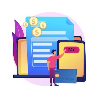 Transações com cartão de crédito. condições de pagamento, termos de compra, banco online. comprador usando tecnologia de pagamento e. empresária devolvendo empréstimo de dinheiro