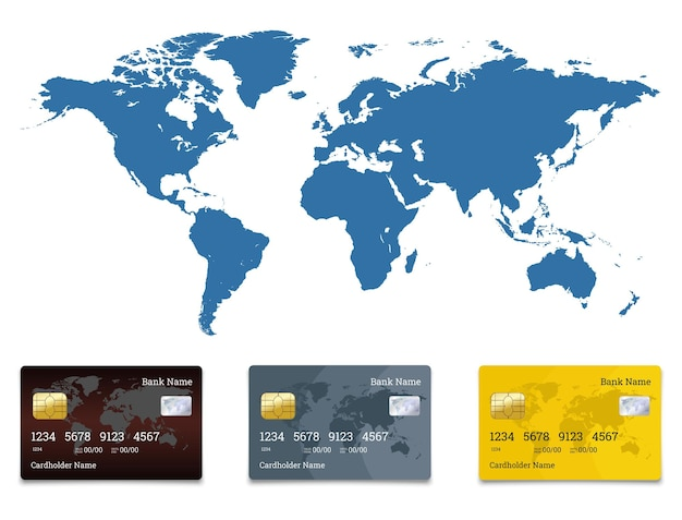 Transações financeiras globais usando dinheiro eletrônico e apenas usando cartões para transações