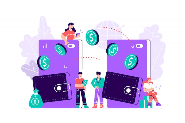 Transações financeiras, transações sem pagamento em dinheiro. sistemas pós-terminais e de pagamento, moeda, moedas, sistema de pagamento nfc - vetor, transferência de dinheiro. ilustração de design moderno estilo simples
