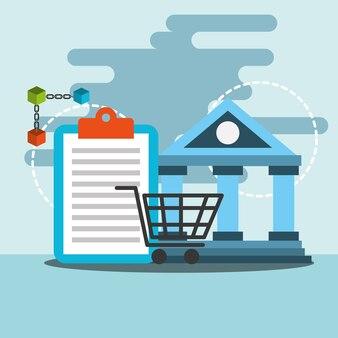Transferência bancária compras on-line blockchain ilustração vetorial