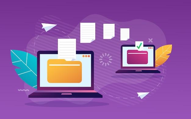 Transferência de arquivo. arquivos transferidos formulário criptografado. programa para conexão remota entre dois computadores. acesso total a arquivos e pastas remotos. . ilustração