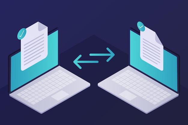 Transferência de arquivo isométrica