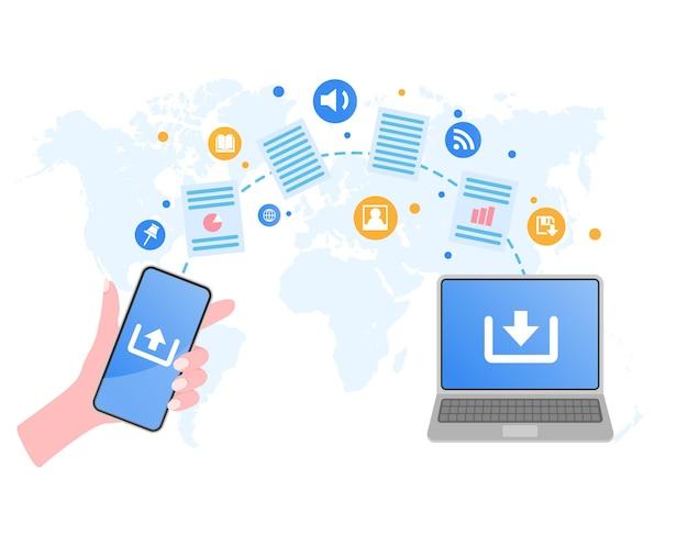 Transferência de arquivo mão segurando smartphone e documentos transferidos para laptop compartilhamento de arquivos ou documentos