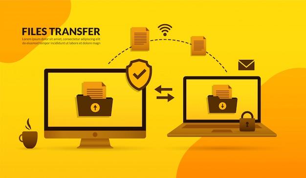 Transferência de arquivos entre desktop e laptop