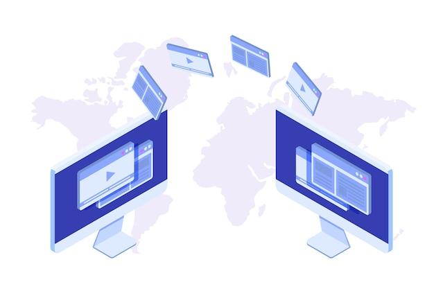 Transferência de arquivos no conceito isométrico de área de trabalho. sincronização, tecnologia em nuvem.