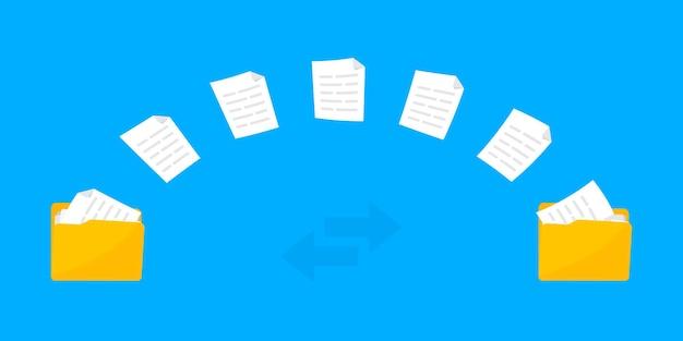 Transferência de arquivos troca de dados pastas com arquivos de papel compartilhamento de arquivos copiar transmissão de documentos