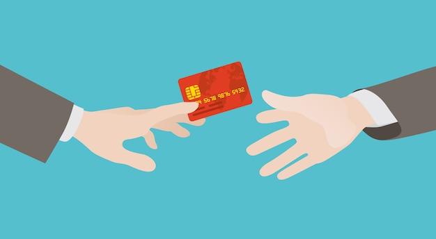 Transferência de cartão de crédito de mão em mão
