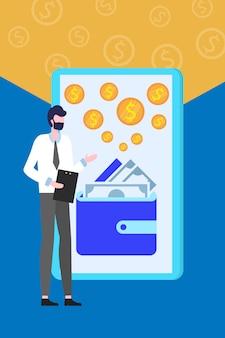 Transferência de dinheiro carteira on-line smartphone application personal assistant