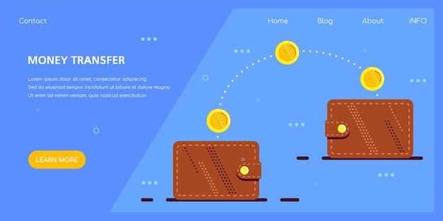Transferência de dinheiro com carteira eletrônica, estilo plano. pagamento, economia e investimento online.