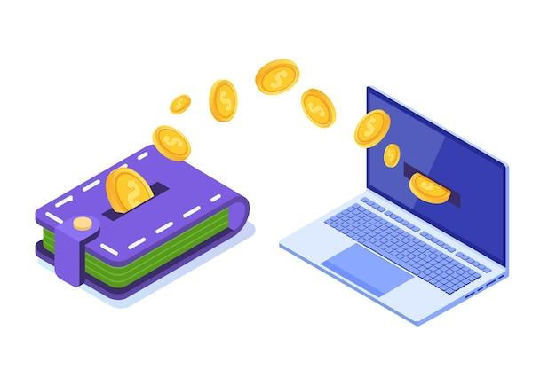 Transferência de dinheiro da carteira para o pc.