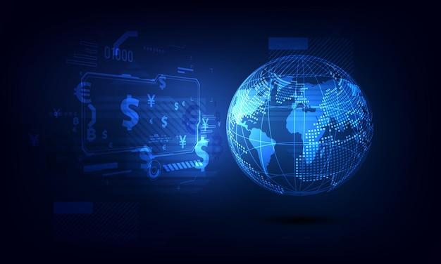 Transferência de dinheiro. moeda global. bolsa de valores. ilustração em vetor de estoque.