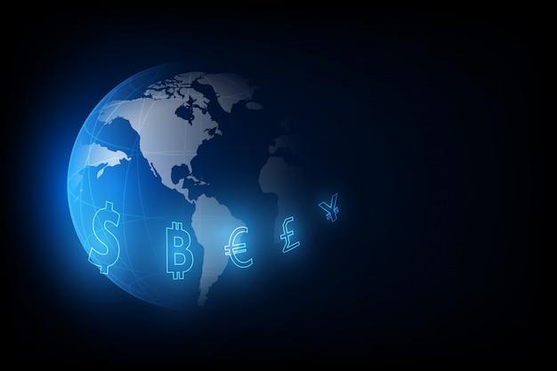 Transferência de dinheiro. moeda global. bolsa de valores. ilustração em vetor de estoque