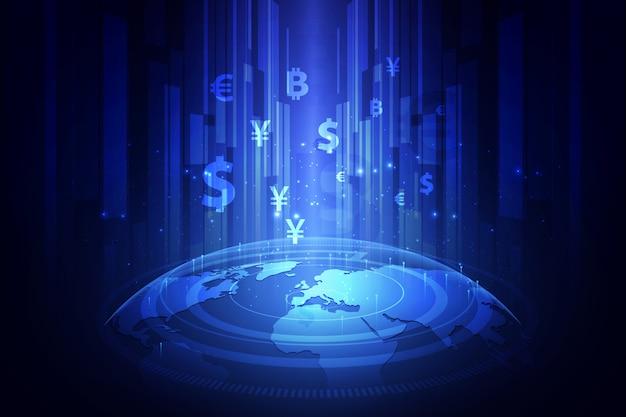 Transferência de dinheiro, moeda global, bolsa de valores.