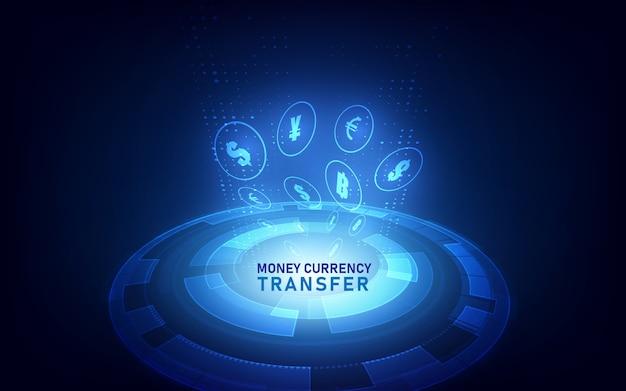 Transferência de dinheiro. moeda global.