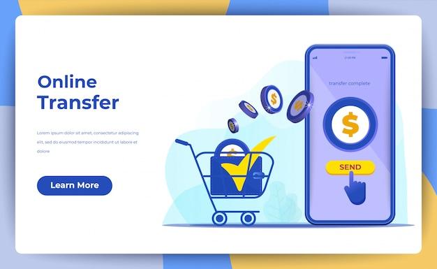 Transferência de dinheiro on-line com o conceito de telefone móvel. para página de destino da web