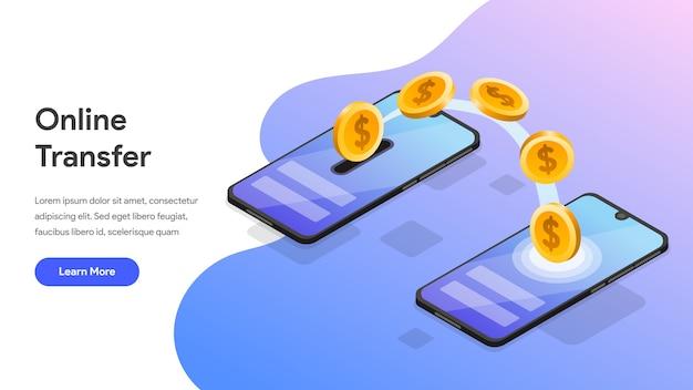 Transferência de dinheiro on-line com telefone móvel isométrico