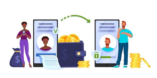 Transferência de dinheiro ou conceito de pagamento de internet móvel com mulher, homem, smartphone, carteira, moedas.
