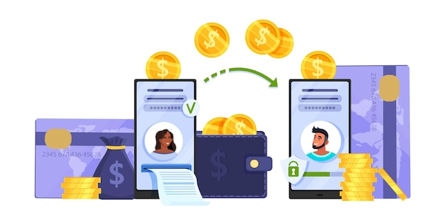 Transferência de dinheiro ou conceito de transação online móvel com smartphones, cartões de crédito, moedas.