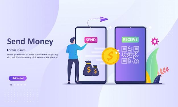 Transferência de dinheiro para o conceito de carteira eletrônica para página de destino na web