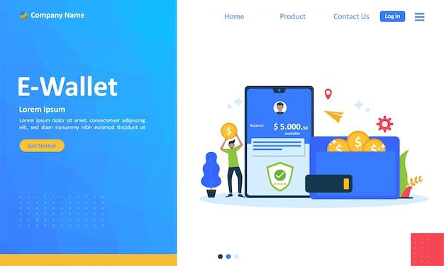 Transferência de dinheiro para o conceito de e-wallet para a página de destino da web