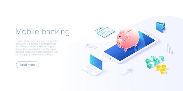 Transferência de dinheiro via celular em desenho isométrico