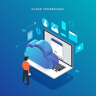 Transferência e armazenamento de dados de tecnologia de nuvem de conceito isométrico. informações de conexão. ilustrações.