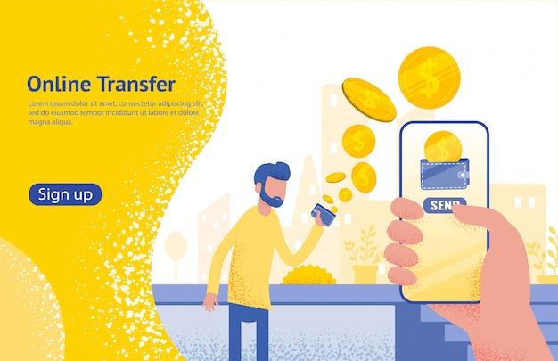 Transferência on-line com a mão segurando o smartphone e pressione o botão enviar,