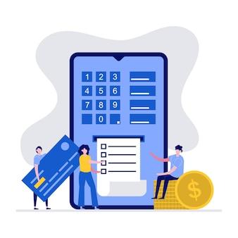 Transferência segura de dinheiro no conceito de internet com caráter. pessoas usando smartphone e cartão de crédito.