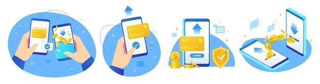 Transferências de dinheiro. conjunto de compras online, pagamentos digitais e telefone de mão com ilustração de aplicativo de transferência de moedas.
