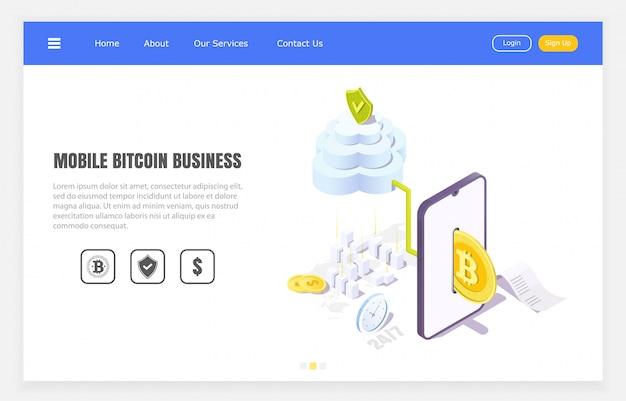 Transferências seguras de bitcoin através de aplicativo móvel, ilustração isométrica.