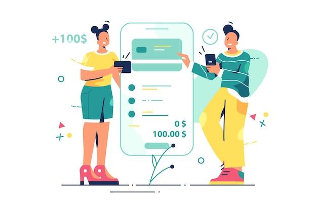 Transferindo dinheiro para ilustração do cartão