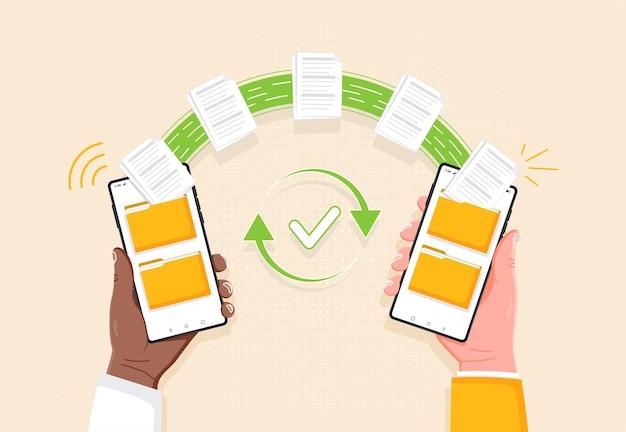 Transferir arquivos de compartilhamento de dados ou enviar documentos de uma pasta para outra