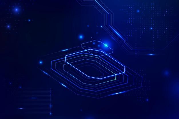 Transformação digital de informações vetoriais de fundo azul futurista de microchip